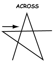 "Third step of drawing a star: ""Across"""