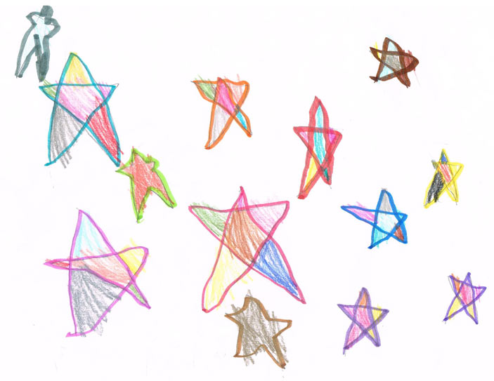 a 4 year olds art, the first time drawing stars