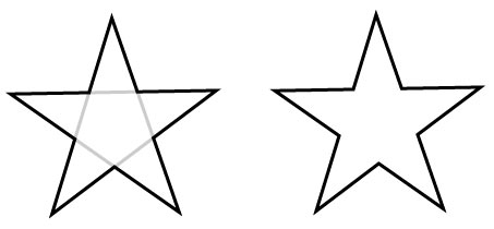 star with inside lines erased