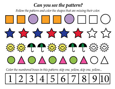 free printable coloring math worksheet to help kids learn patterns
