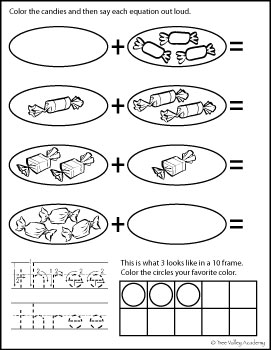free math printable: tracing three, number bonds of three, 3 in 10 frame