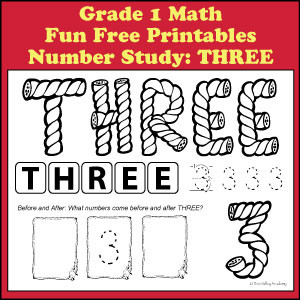 Fun Free Printables to learn Grade 1 Math skills like number bonds that add up to the number 3.