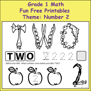 Fun Free Printables to learn various Grade 1 Math skills with the theme: The Number 2.