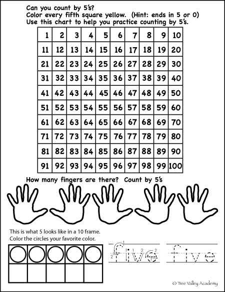 Free Math Printable: counting by 5s, 5 in a 10 frame, writing numbers in words (five)