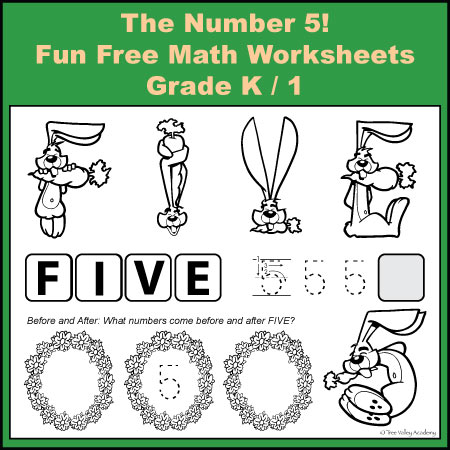 Grade K / 1 Fun Free Math Worksheets: The Number 5! Number Bonds to 5 worksheets.