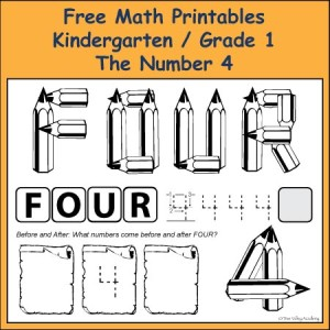 Fun Free Grade K / 1 Math Printables learning skills like number bonds that add up to the number 4 and learning to spell the number four.