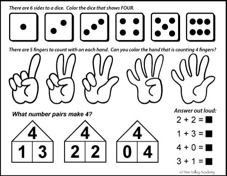 Free Math Printable: number bonds of four, dice, counting fingers, even or odd