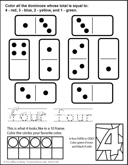 Grade K / 1 free math printable learning number bonds of 4, writing the number 4, 4 in a 10 frame, and is 4 even or odd.