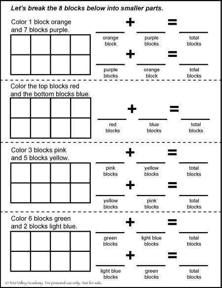 Free Math Printable. Number bonds of 8.