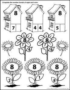 A coloring page with flowers and and houses for kids to color. Each flower and house contains a math problem with a number pair of 8.