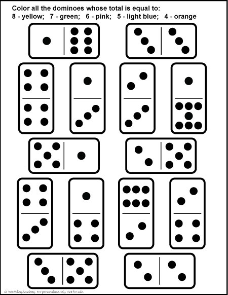 Free printable domino number bonds worksheet for kids.  A fun coloring math worksheet for kindergarten or grade 1 students to practice number Bonds of 4, 5, 6, 7 & 8. #math