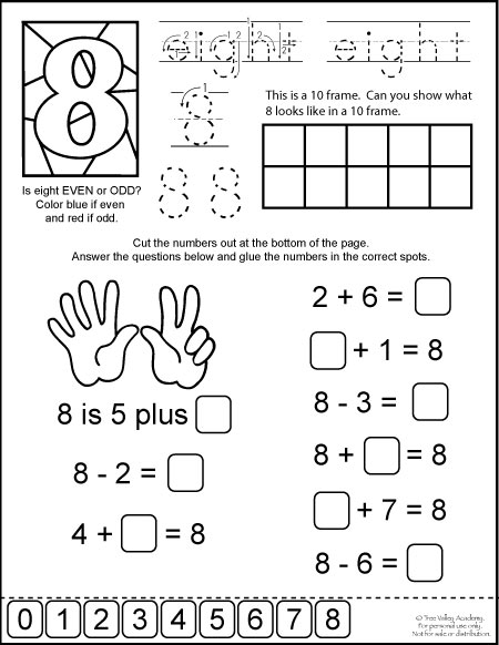 Free printable. Number bonds of 8 math equations, 10 frame, odd or even, writing eight in words