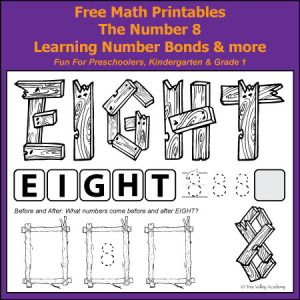 Free math printables. The Number 8. Learning Number Bonds and more. Fun for preschoolers, kindergarten & grade 1.