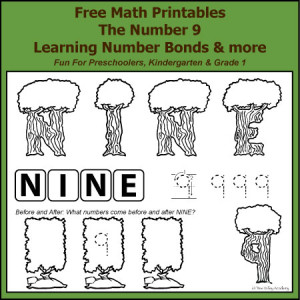 Free Math Printables for Preschoolers, Kindergarten and Grade 1. Number Study of 9. Learning Number Bonds of 9 and more.