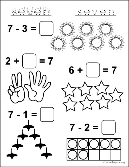 Free Printable. Learning number bonds of 7 math equations.