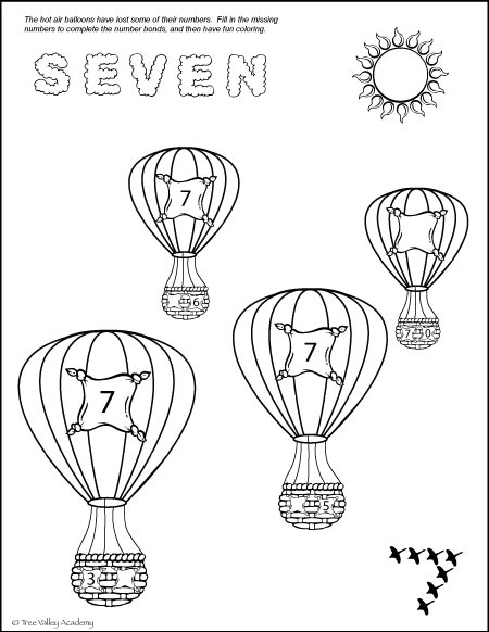 Free Fun Math Printable. Number bonds of 7 colouring page.