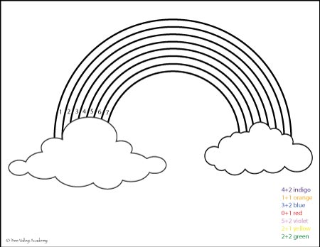 Free Math Printable. Color the answer rainbow coloring page.