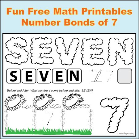 Fun Free Math Printables for kids to learn the number bonds of seven