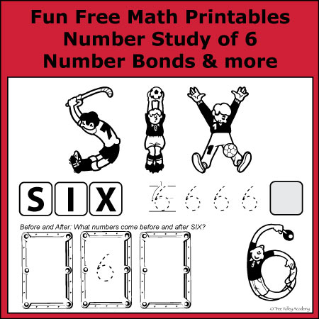 Fun Free Math Printables learning number bonds of 6, writing the word