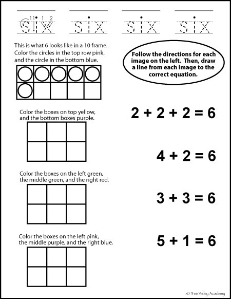free math printable - number bonds of 6 & learning to write in words the number six