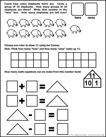 Free Math Worksheet for Kindergarten or Grade 1 student. The number 11 ...