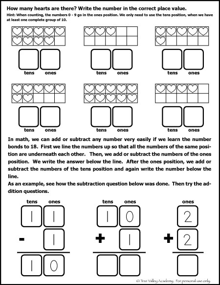 Free Math Worksheet for Kindergarten and Grade 1 students. Learning place value, and beginning column addition.