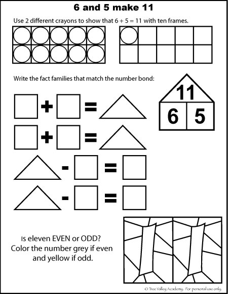 Free Math Printables for Kindergarten and Grade 1 students. Fact families, addition with ten frames and odd or even.