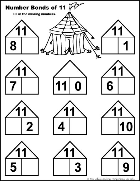 Number Bonds to 11 Free Math Worksheets