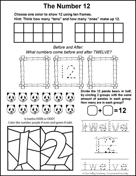 Number Bonds to 12 Free Math Worksheets