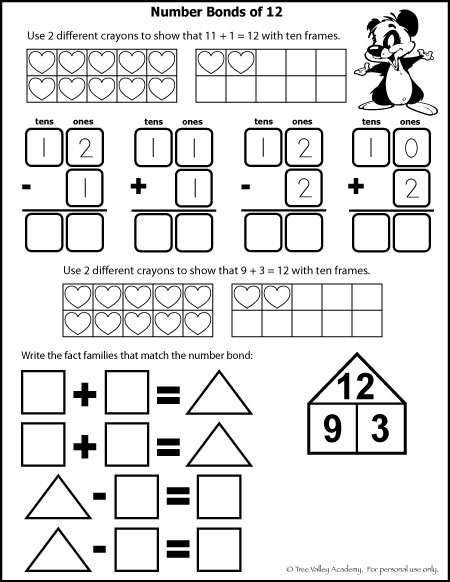 Free math printables for Kindergarten and Grade 1. Number study of 12. Learning number bonds, column addition, fact families, and addition with ten frames.