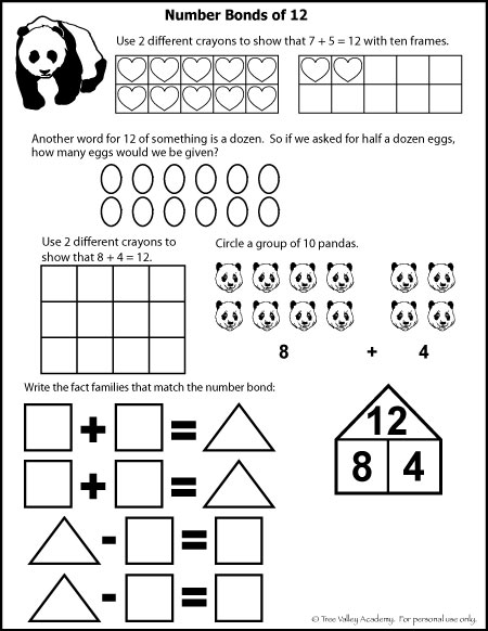Free math printables for Kindergarten or Grade 1. Learning number bonds of 12, fact families, ten frames, a dozen, and regrouping by ten.