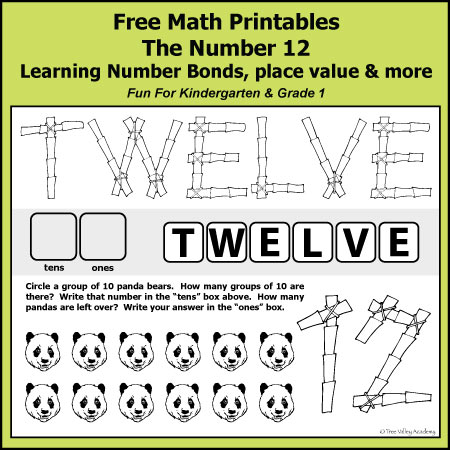 Free math printables for Kindergarten and Grade 1. The number 12. Learning number bonds, place value, writing numbers in words, column addition, and more.