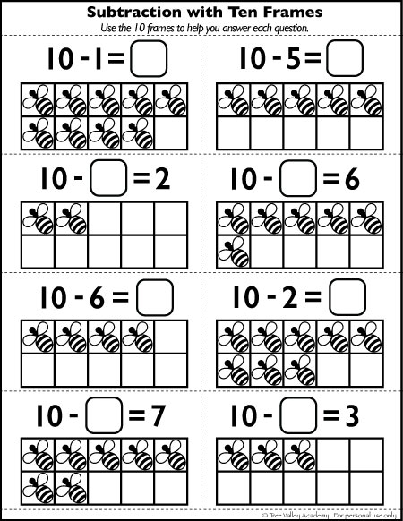 Subtraction using 10 frames worksheet. Ideal for a preschool, kindergarten or Grade 1 student.  A free number bonds to 10 worksheet with a bee theme. #math #bondsof10 #subtraction #freeprintables