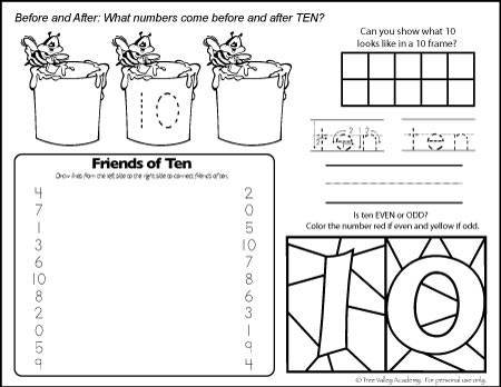 Free Math Printables. The Number 10. Before and after, odd or even, friends of 10, and writing ten in words.