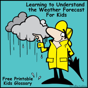 Learning to Understand the Weather Forecast for Kids with a Free Printable Kids Glossary of Common Weather Terms.