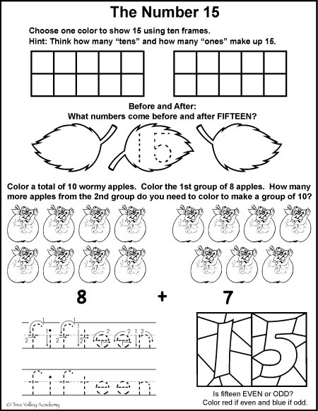 Number Bonds of 15 Free Math Printables