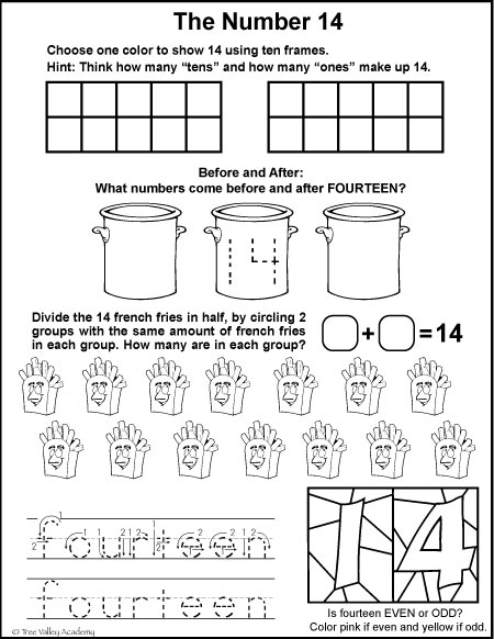 Free math printables for Kindergarten or Grade 1. A number study of 14, number bonds, before and after, ten frames, odd or even, dividing in half, and writing fourteen in words.
