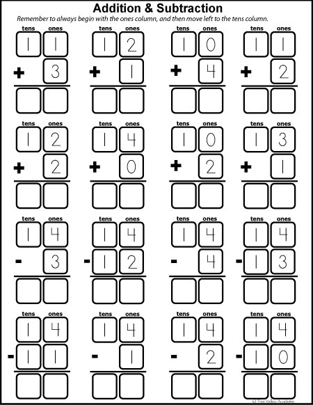Free math printables for Kindergarten and Grade 1. Number study of 14. Learning number bonds, column addition and subtraction.