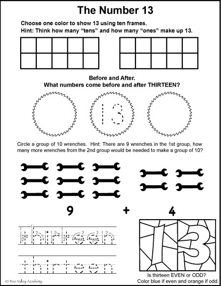 Free math printables for Kindergarten or Grade 1. A number study of 13, before and after, ten frames, odd or even, tracing thirteen, and learning to group by tens when adding.