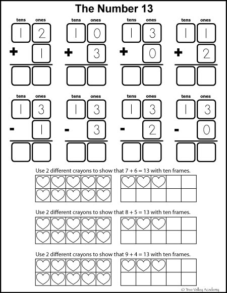 Free math printables for Kindergarten and Grade 1. Number study of 13. Learning number bonds, column addition, and addition with ten frames.