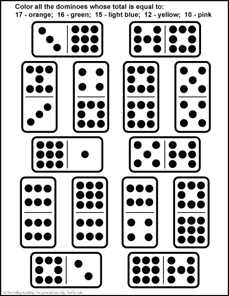 Free Addition Math Printable. Number Bonds of 10, 12, 15, 16 & 17. Fun domino colouring page.