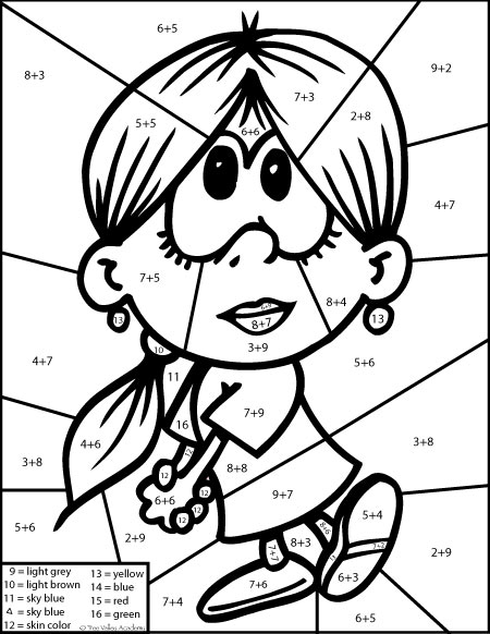 Free math printable. Color by number addition colouring page.