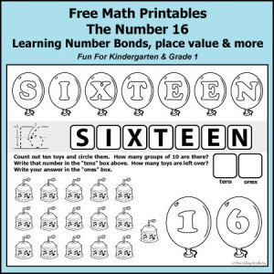 Number Bonds of 16 Free Math Printables