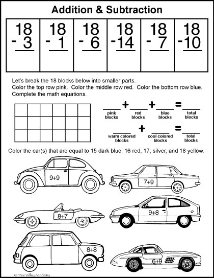 Grade 1 free math printables. Subracting from 18. Decomposing and composing the number 18. Coloring by number addition.