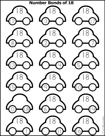 Free math printable. Number Bonds to 18 colouring worksheet with a car theme.