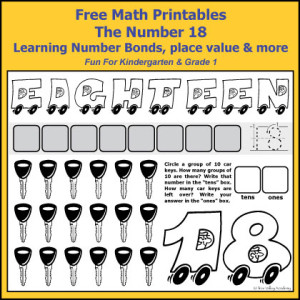 Number Bonds to 18 Free Math Worksheets