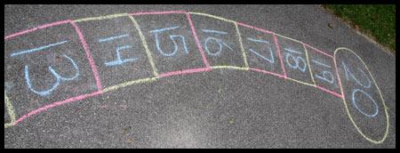 Hopscotch Chalk Numberline for math fun.