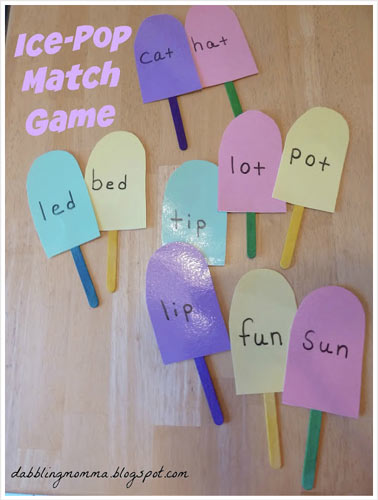 Ice Pop Match Game From Dabbling Momma