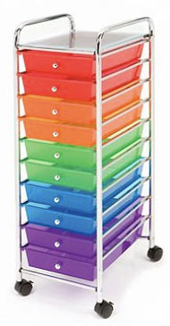 10 multicolour plastic drawers that are ideal for homeschooling use.