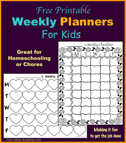 Homeschooling Scheduling: Free Printable Kid-Friendly Planners. Can be used for Homeschooling or Chores. When a task is complete, kids can colour, stamp or add stickers making it fun to get the job done.